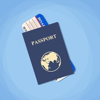Passaporte de ilustração vetorial com bilhetes.