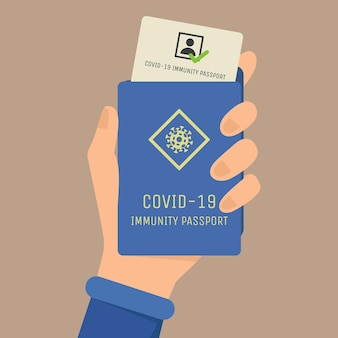 Passaporte de imunidade covid-19 plano. mão segurando passaporte