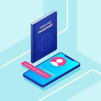 Passaporte de saúde estilo isométrico