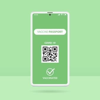 Passaporte de vacina para smartphone isolado em verde