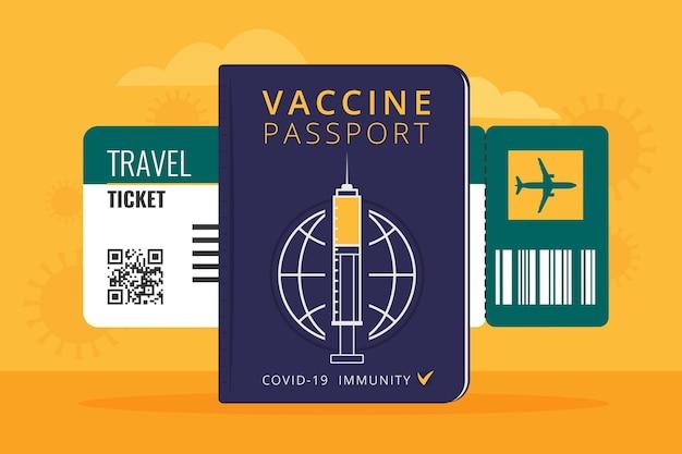 Passaporte de vacinação de design plano para viajar