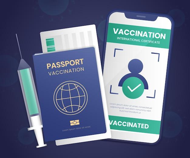 Passaporte de vacinação de gradiente e smartphone