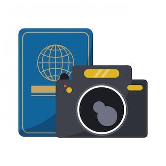Passaporte de viagem e câmera fotográfica