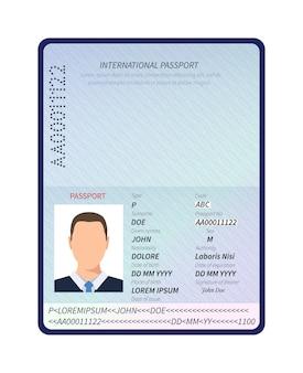 Passaporte. documento de identificação aberto com retrato de foto masculina e espaço em branco para modelo de vetor de carimbos de visto de imigração