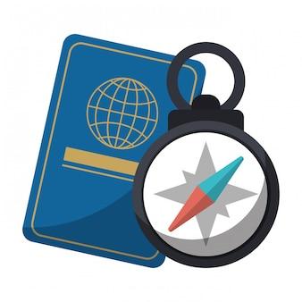 Passaporte e bússola de navegação