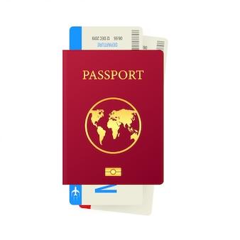 Passaporte e cartão de embarque isolado no branco
