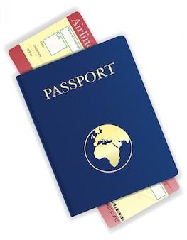 Passaporte e ilustração vetorial de passagem aérea