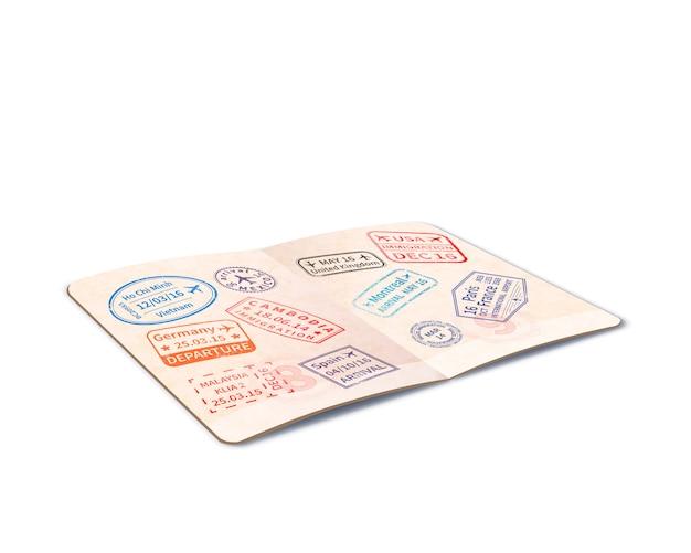 Passaporte estrangeiro aberto, cheio de carimbos de imigração, documento de viagem em perspectiva em branco