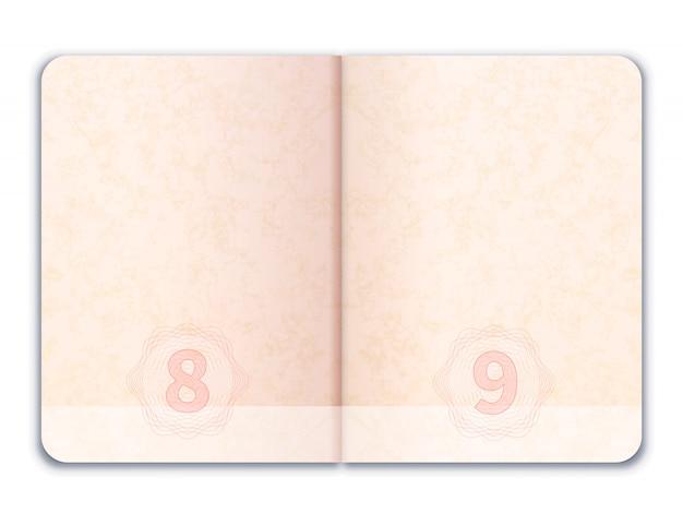 Passaporte estrangeiro aberto realista em branco sobre branco
