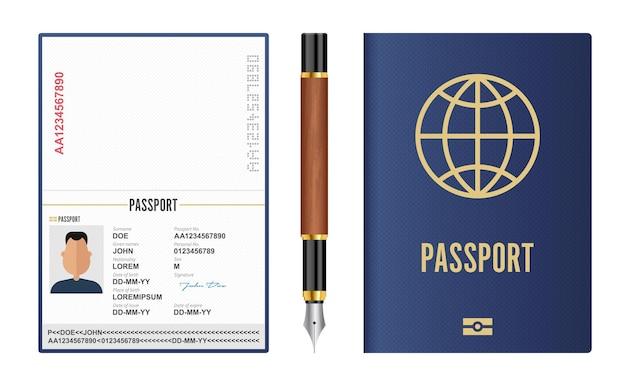 Passaporte internacional realista e caneta-tinteiro