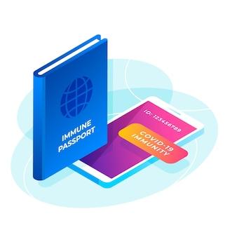 Passaporte isométrico de saúde e tablet