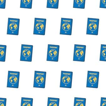 Passaporte padrão sem emenda em um fundo branco. ilustração em vetor de tema de viagem