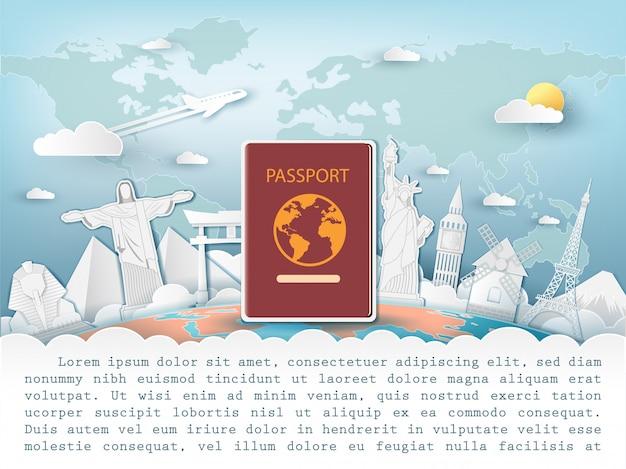 Passaporte viajar ao redor do conceito de mundo.