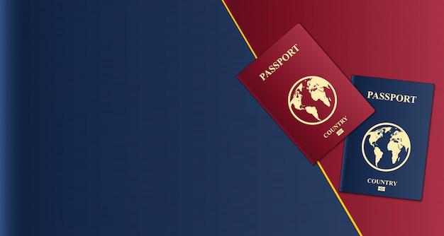 Passaportes com mapa globo, documento de identificação.