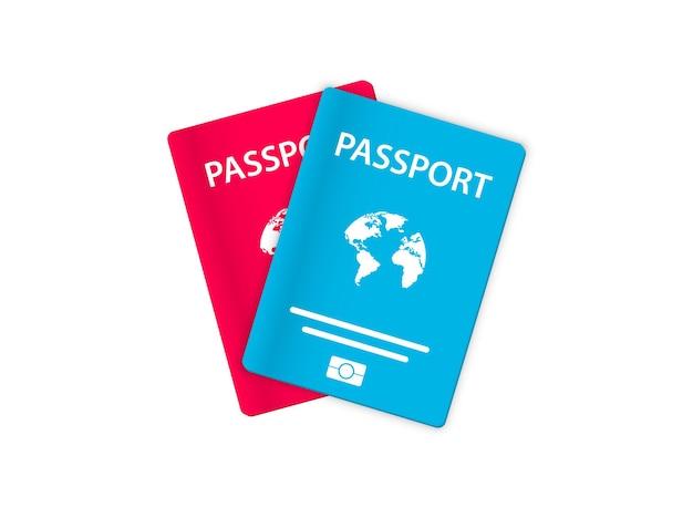 Passaportes de vetor em fundo branco. modelo de capa de passaporte internacional. documento de viagem e imigração. modelo de capa de passaporte biométrico. documento de identidade com id digital.