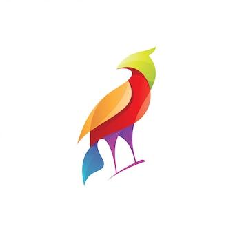 Pássaro abstrato com estilo de cor gradiente