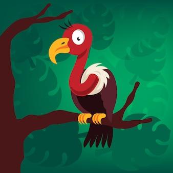 Pássaro abutre na árvore