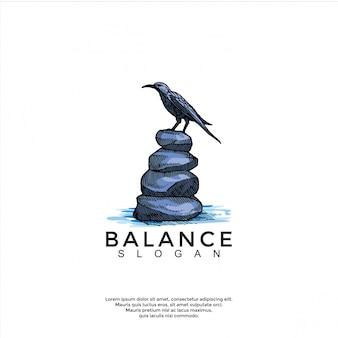 Pássaro acima do modelo de logotipo de pedra de equilíbrio