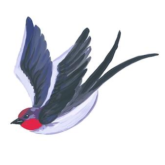 Pássaro aquarela voando andorinha