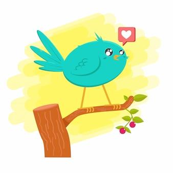Pássaro azul com gosto