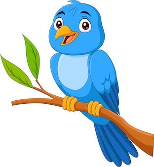 Pássaro azul dos desenhos animados, sentado no galho de árvore