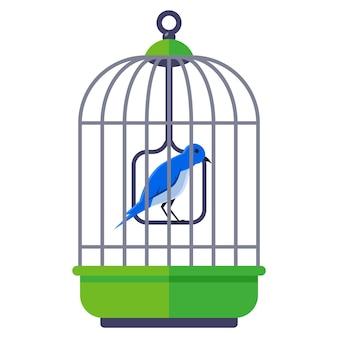 Pássaro azul em uma gaiola de ferro. ilustração plana
