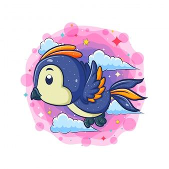 Pássaro azul voando com fundo de nuvem