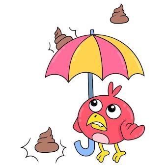 Pássaro bebê segurando guarda-chuva evitando o cocô de chuva, arte de ilustração vetorial. imagem de ícone do doodle kawaii.