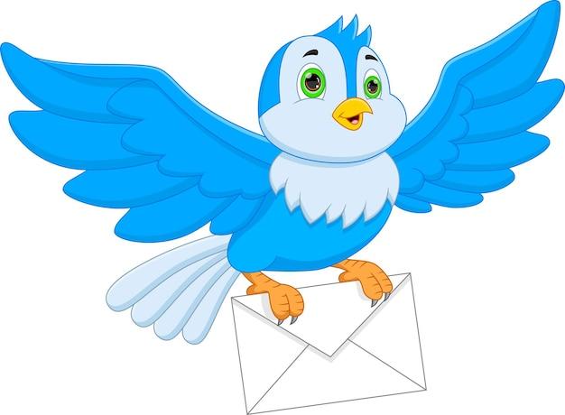 Pássaro bonito carregando um envelope no fundo branco