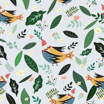 Pássaro bonito com folha verde e flor padrão sem emenda.