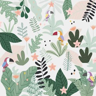 Pássaro bonito do tucano em desenhos animados tropicais da floresta.