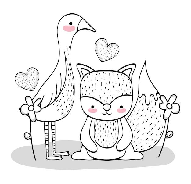 Pássaro bonito e esquilo com flores e corações