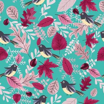 Pássaro bonito e padrão sem emenda de folha roxa linda.