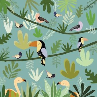 Pássaro bonito no teste padrão botânico da floresta tropical.