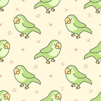 Pássaro bonito papagaio padrão sem emenda