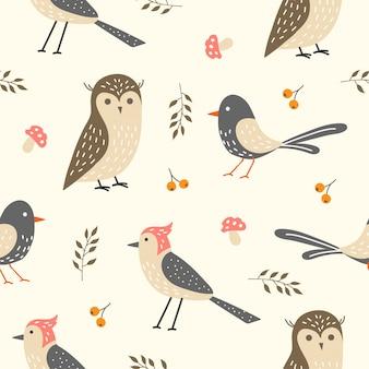 Pássaro bonito sem costura padrão para papel de parede