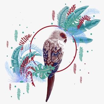 Pássaro brilhante nas folhas da selva
