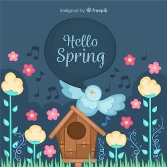Pássaro cantando fundo de primavera