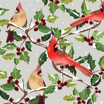 Pássaro cardeal de natal na árvore de azevinho.