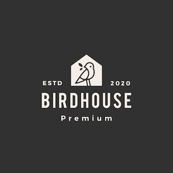 Pássaro casa hipster logotipo vintage icon ilustração