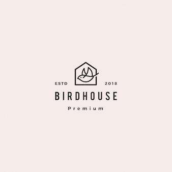 Pássaro casa logotipo hipster retro vintage