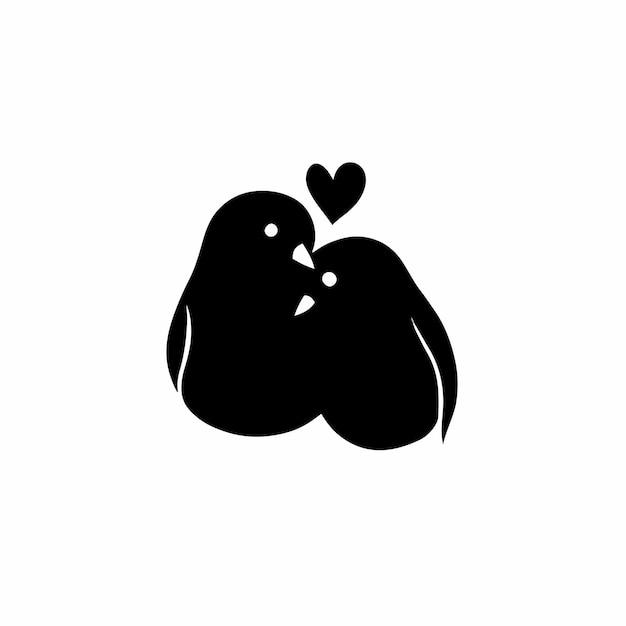 Pássaro casal símbolo logo tatuagem design ilustração vetorial
