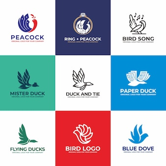 Pássaro, cisne, pato, pomba, coleção de design de logotipo de pavão.