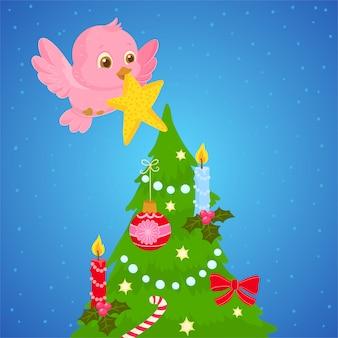 Pássaro colocando uma estrela em uma árvore de natal