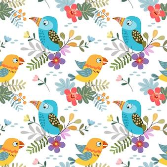 Pássaro colorido bonito com matéria têxtil sem emenda da tela do teste padrão da folha tropical.