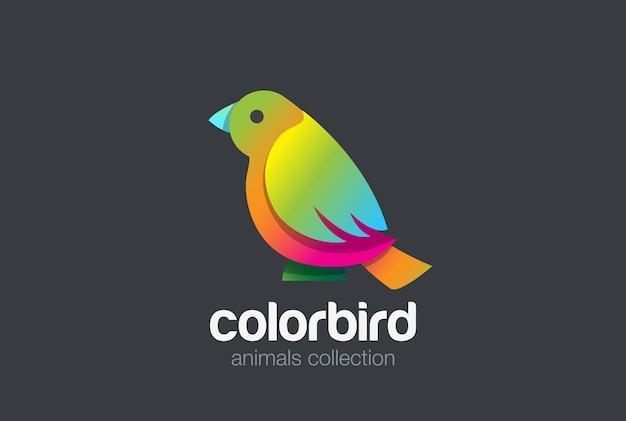 Pássaro colorido sentado logotipo abstrato.