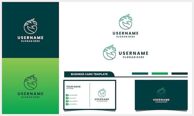 Pássaro com conceito de design de logotipo de vida natural com modelo de cartão de visita
