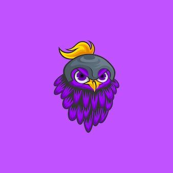 Pássaro com design de logotipo de capacete
