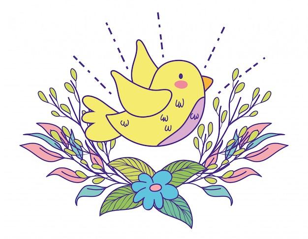 Pássaro com flores da primavera e galhos de folhas de plantas