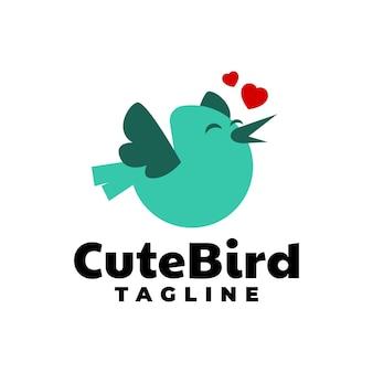 Pássaro com um vetor de logotipo animal de ilustração de folha para qualquer negócio relacionado a crianças ou animais